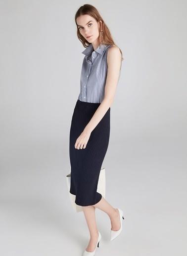 Gömlek Form Kumaş Mixli Triko Elbise-Ipekyol